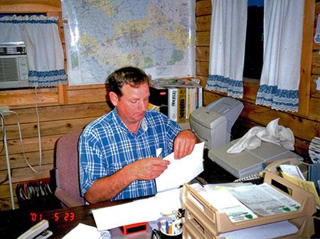 Raymond doing Office Work